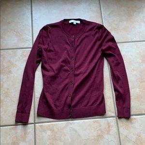 LOFT Wine Cotton Crewneck Cardigan Size XSP